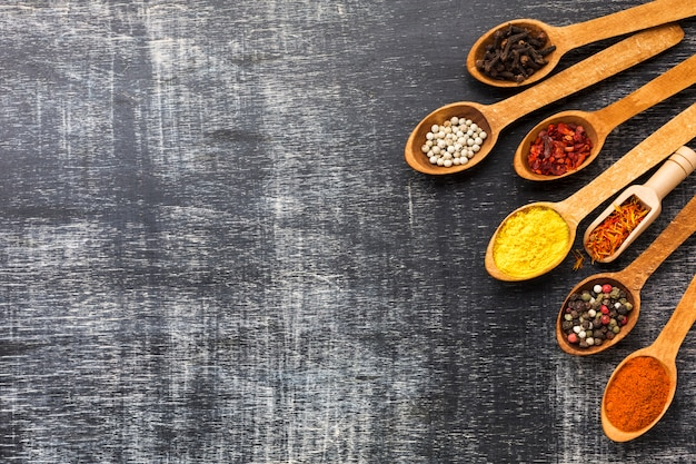 Top view spoons with spices powder