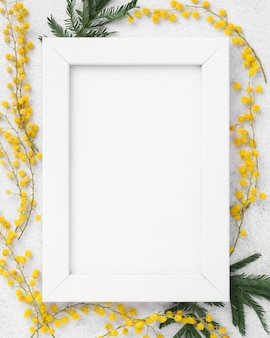 Top view spring flowers and frame