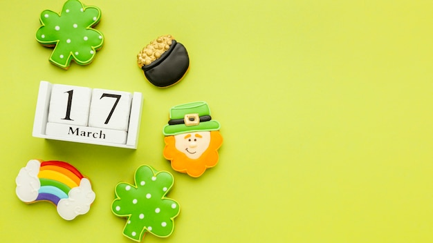 Top view st patrick cookies frame with copy-space