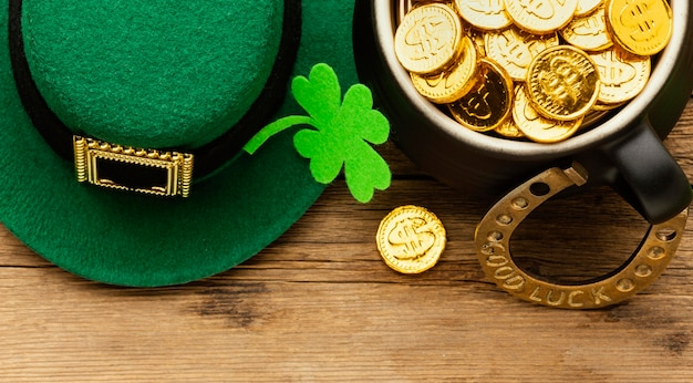 Top view st patrick items on wooden table