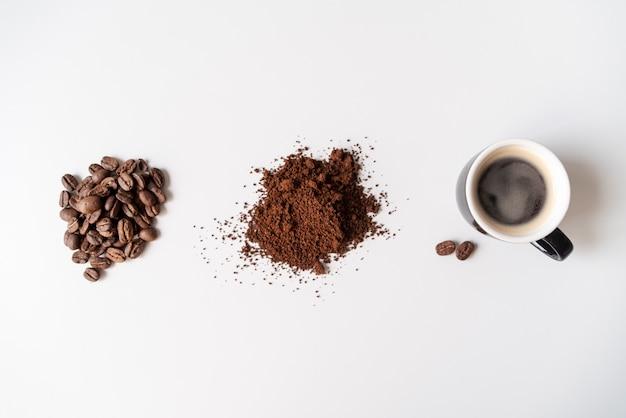 Вид сверху этапов кофе