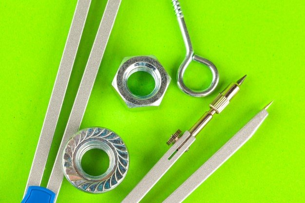 Top view of stainless steel bolts or iron nails