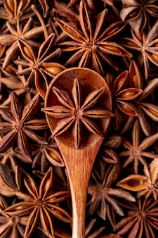 Top view of star anise spice and spoon