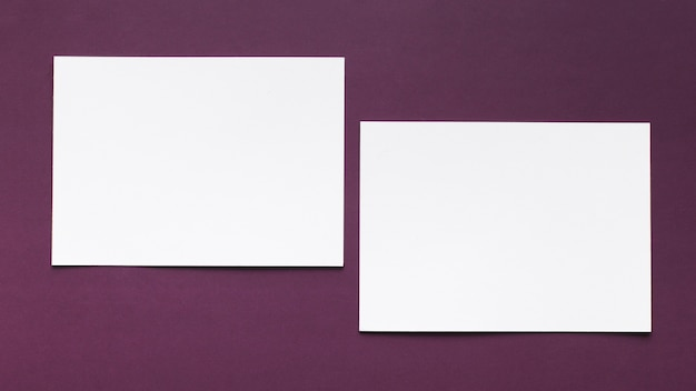 Top view stationery business cards