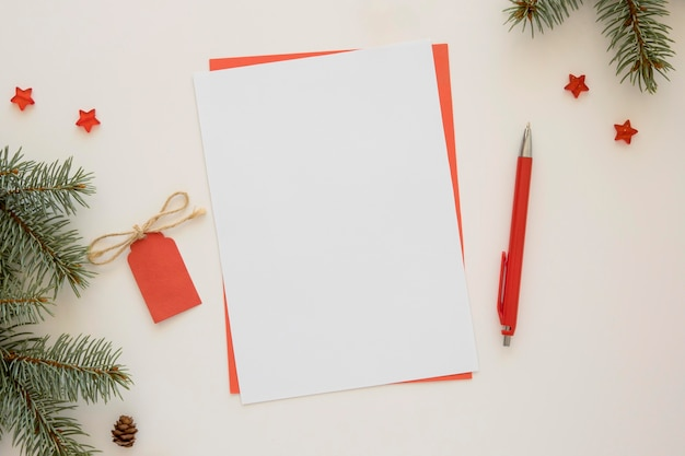 Top view stationery empty papers and red label