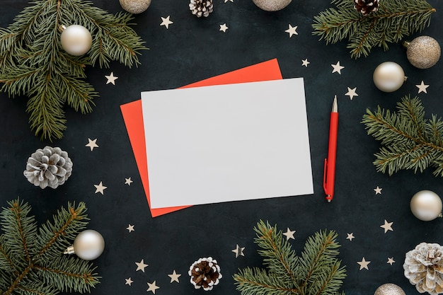 Top view stationery empty papers and red pen