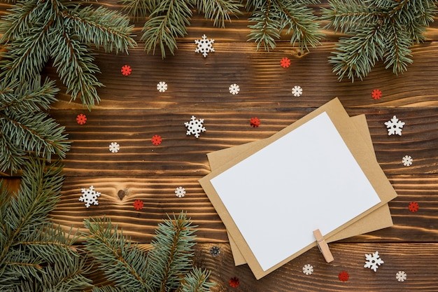 Top view stationery empty papers on wooden background