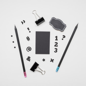 Top view stationery items and business card