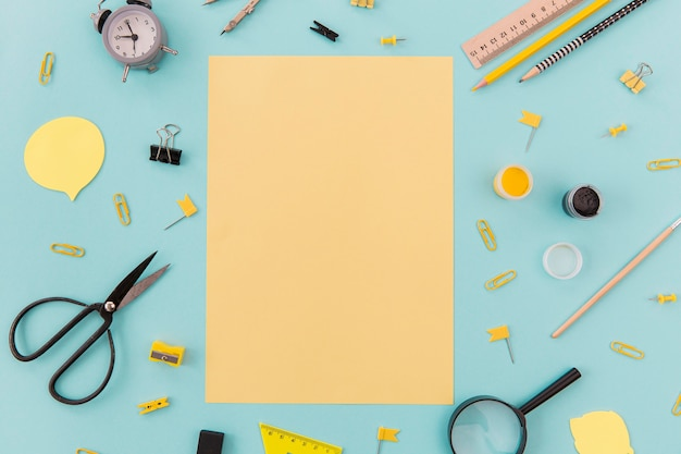 Top view stationery objects on the table