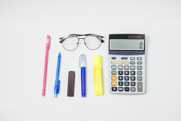 Top view stationery or office equipment on white background