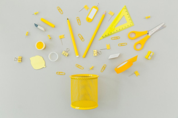 Top view stationery supplies on the table