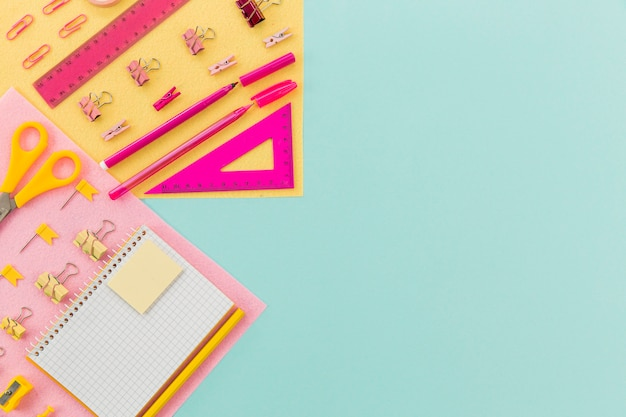 Top view stationery supplies with copy space