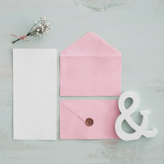 Top view stationery wedding concept