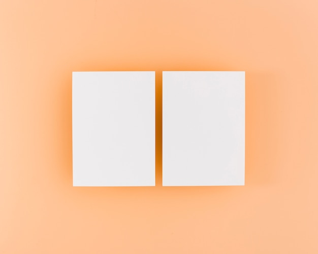 Top view stationery white business cards
