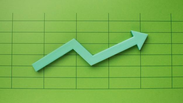 Vista dall'alto della presentazione delle statistiche con la freccia