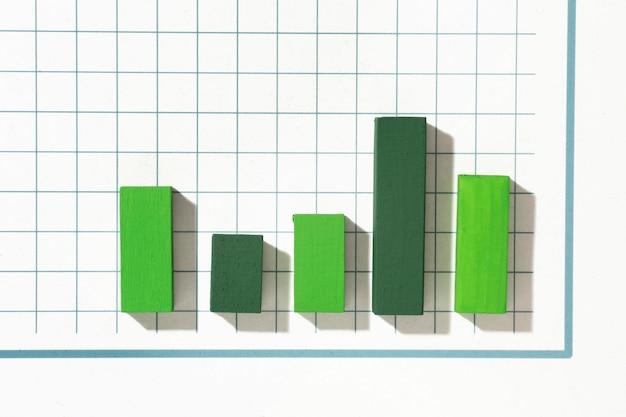 Vista dall'alto della presentazione delle statistiche con grafico