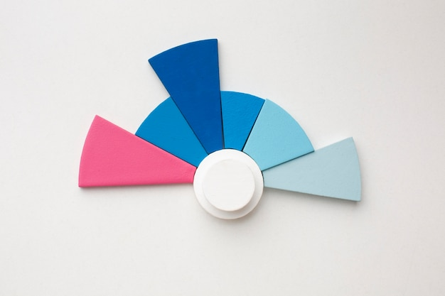 Top view of statistics presentation with pie chart