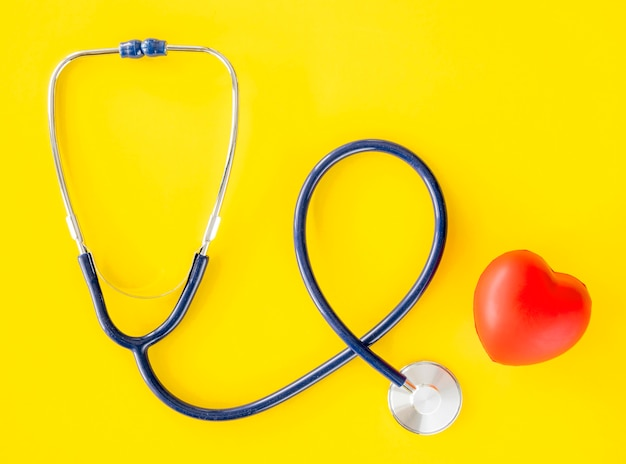 Top view of stethoscope with heart shape