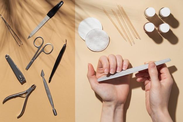 Disposizione di still life vista dall'alto di prodotti per la cura delle unghie