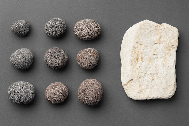 Top view stone collection