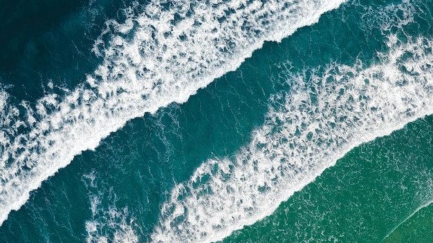 Top view of the stormy ocean waves