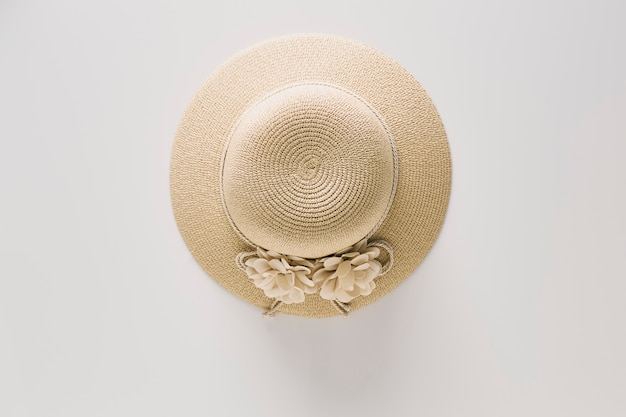 Top view straw hats