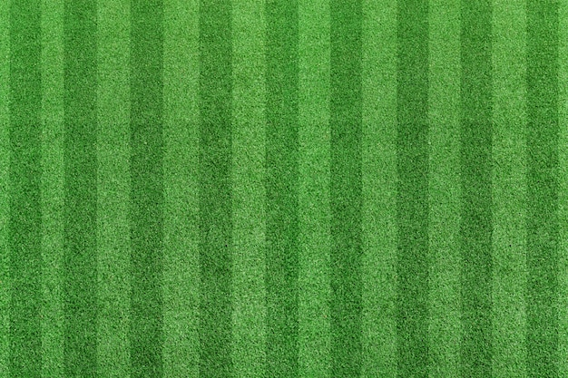 Top view stripe grass soccer field. green lawn pattern background