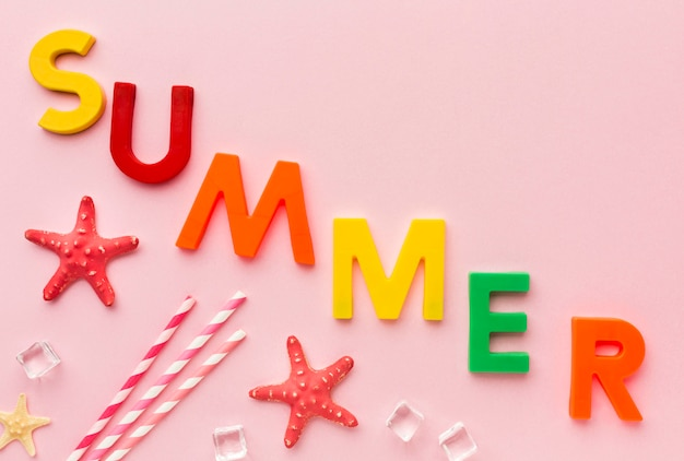 Top view summer lettering concept