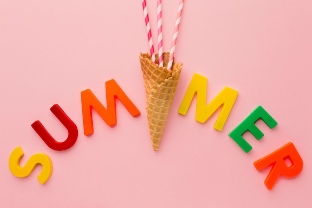 Top view summer lettering with ice cream cone