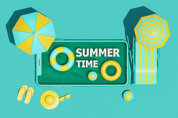 Вид сверху, концепция летнего времени на смартфоне с летними элементами. 3d визуализация
