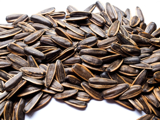 Top view of sunflower seed, snack food or appetizer.