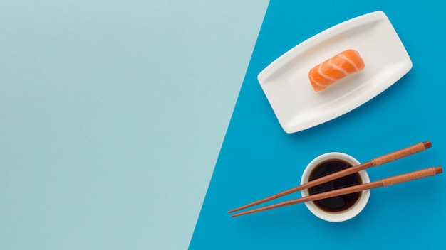 Top view sushi day concept with copy space