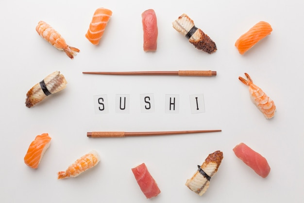 Top view sushi day concept
