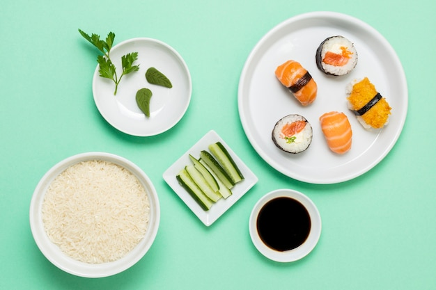 Top view sushi with soya sauce