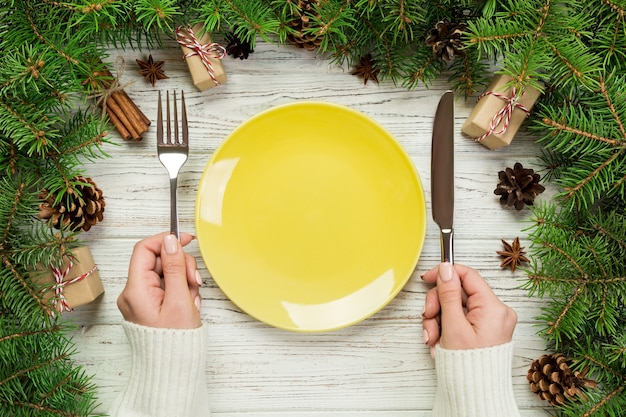 Top view table setting for christmas