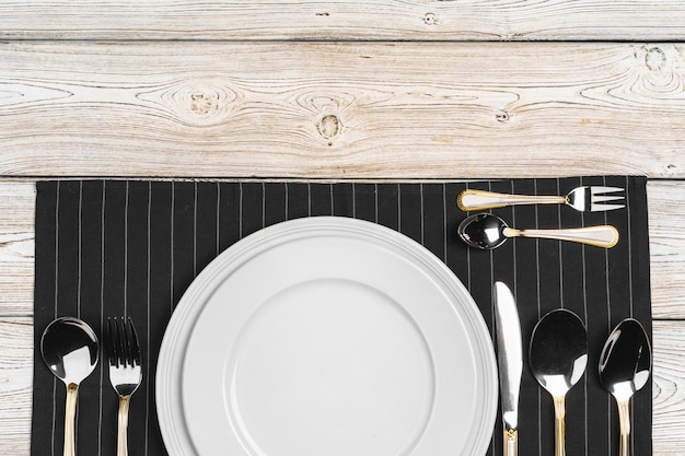 Top view of table setup on dark wooden table