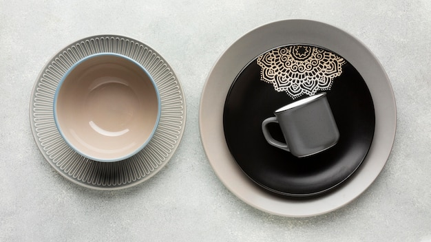 Top view tableware collection