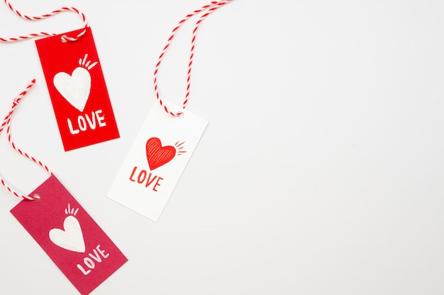 Top view of tags with hearts