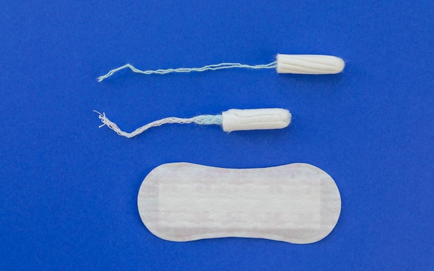 Top view tampons with sanitary towel