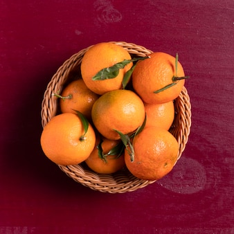 Top view of tangerines in basket for chinese new year
