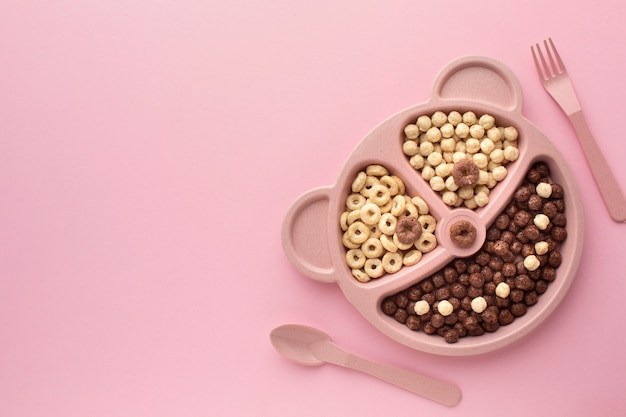 Top view tasty cereal tray