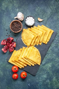 Top view tasty pancakes on blue background meat sweet breakfast pastry cake dough color pie