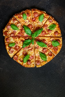 Top view of tasty pizza