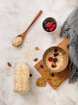 Top view tasty porridge with berries