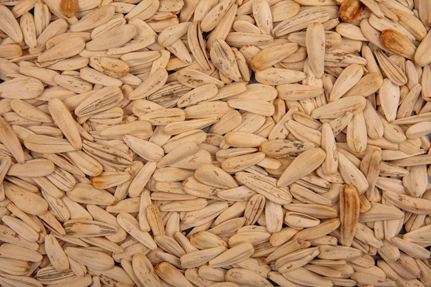 Top view of tasty and salty white sunflower seeds isolated background