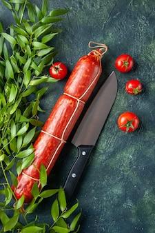 Vista dall'alto gustosa salsiccia con pomodori rossi su sfondo scuro hamburger carne pane panino colore panino cibo insalata animale