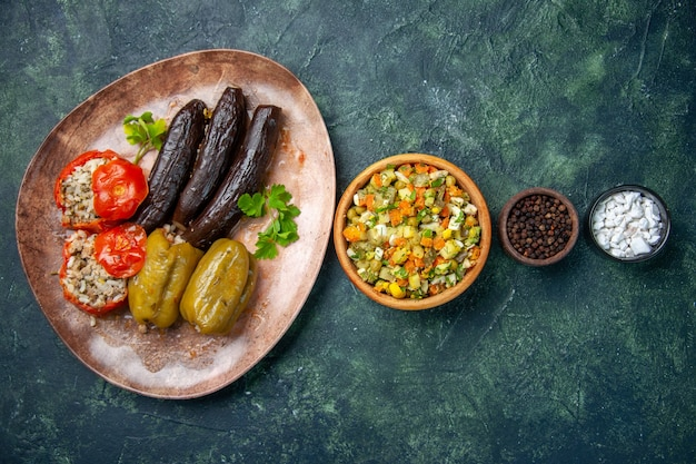Top view tasty vegetable dolma, food color dish meal oil cook cuisine