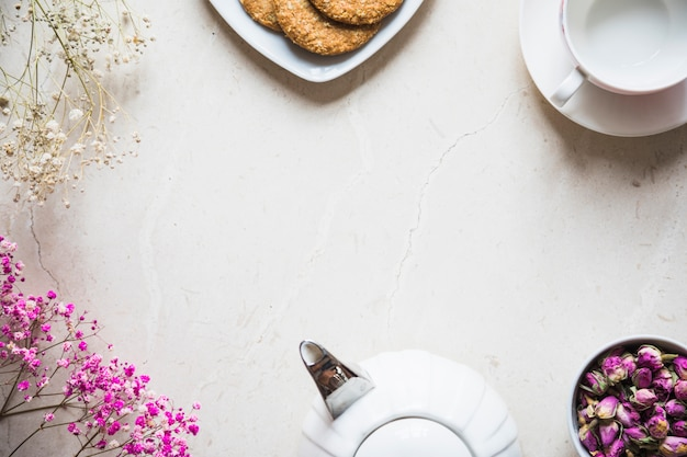 Top view tea cup with breakfast elements