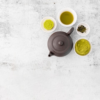 Top view tea pot with matcha chai