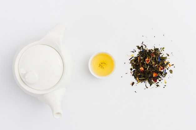 Top view teapot with cup and leaves